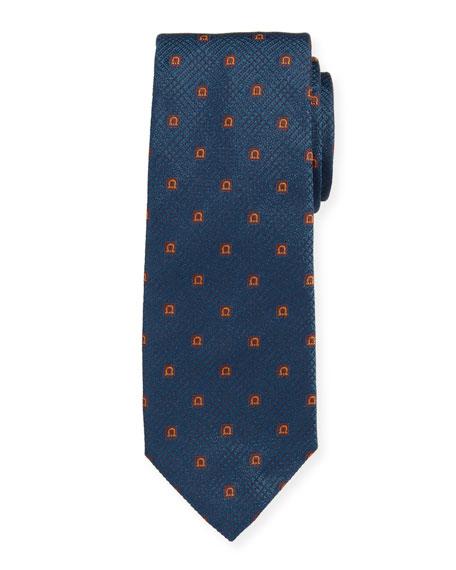 Salvatore Ferragamo Men's Iseo Gancio Silk Tie, Blue