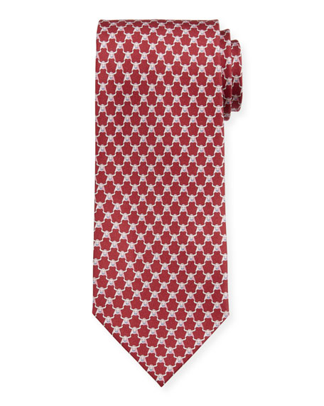 Salvatore Ferragamo Men's Indro Silk Bull-Print Tie, Red