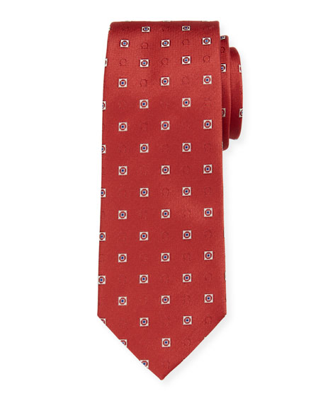 Salvatore Ferragamo Men's Ivrea Gancini Medallion Silk Tie, Red