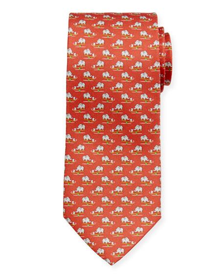 Salvatore Ferragamo Men's Ilan Silk Mouse & Elephant Tie, Red