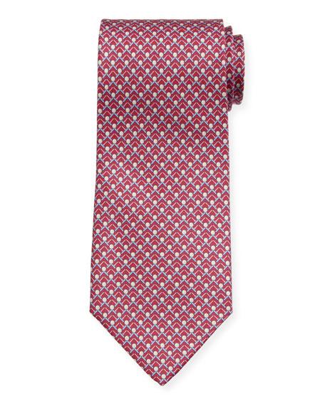 Salvatore Ferragamo Men's Iago Golf Ball & Tees Silk Tie, Magenta