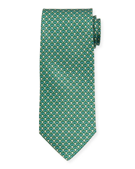 Salvatore Ferragamo Men's Iago Golf Ball & Tees Silk Tie, Green
