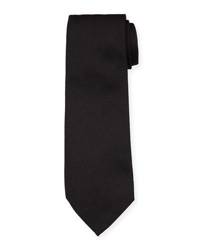 Solid Textured Mulberry Silk Tie  Black