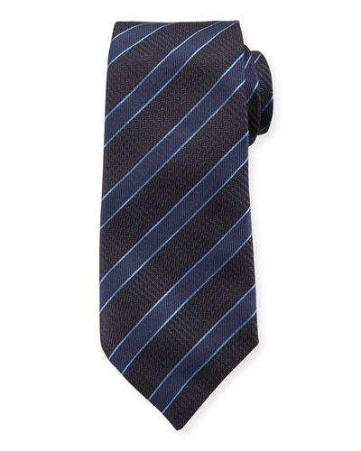 Mulberry Silk Diagonal Stripe Tie  Blue