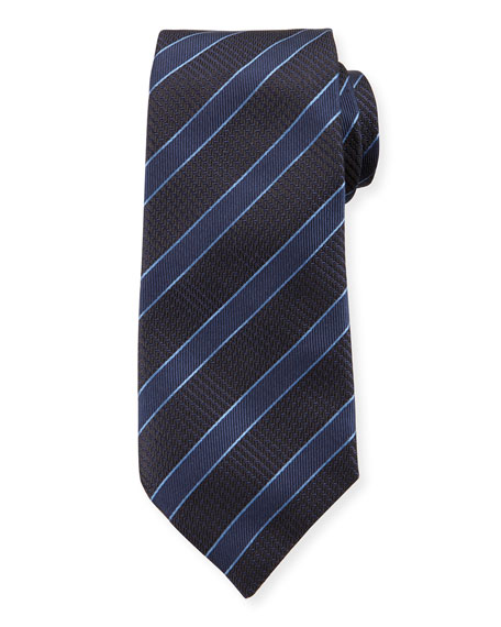 Emporio Armani Mulberry Silk Diagonal Stripe Tie, Blue
