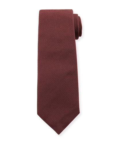 Micro-Neat Silk Tie  Burgundy