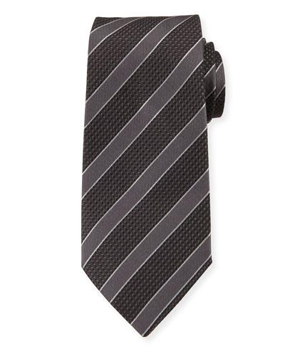 Mulberry Silk Diagonal Stripe Tie  Gray/Black