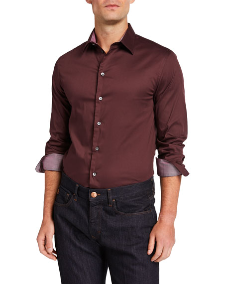 Emporio Armani Men's Solid Sport Shirt with Contrast Detail