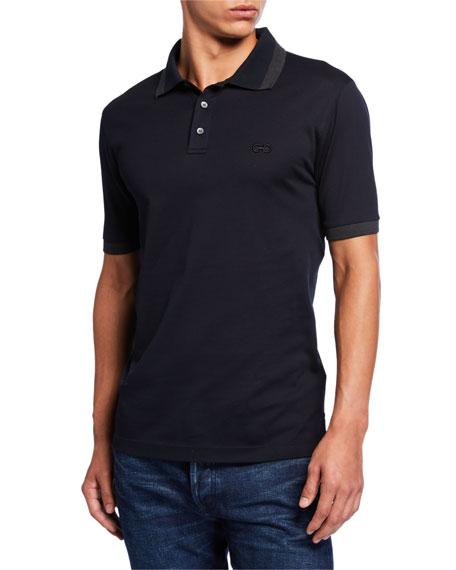 Salvatore Ferragamo Men's Tipped-Collar Pique Polo Shirt