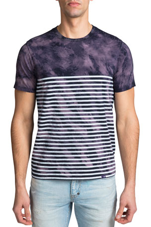 PRPS Men's Tie-Dye Striped T-Shirt