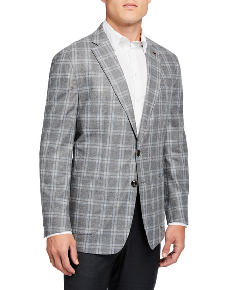 Image 1 of 3: Peter Millar Men's Monterey Windowpane Two-Button Jacket