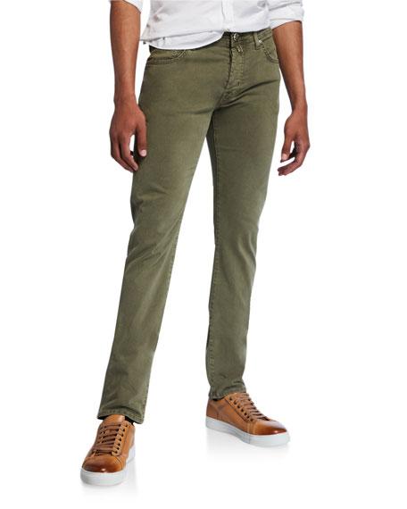 Jacob Cohen Men's Brushed Denim 5-Pocket Jeans, Light Green