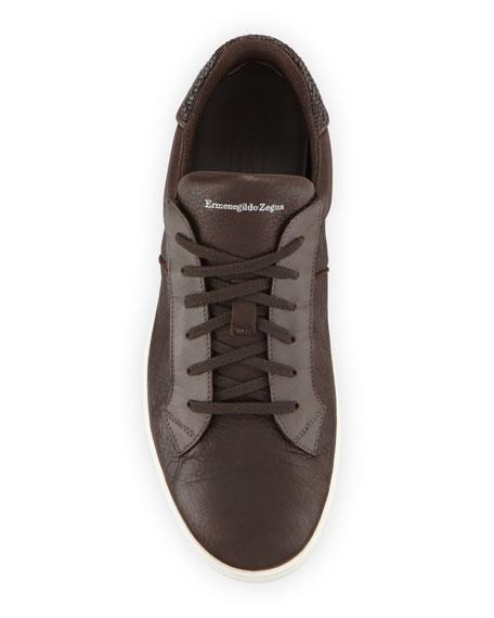 Ermenegildo Zegna Men's Vulcanizzato Deerskin Leather Low-Top Sneakers