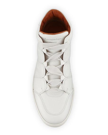 Ermenegildo Zegna Men's Tiziano Grained Leather High-Top Sneakers