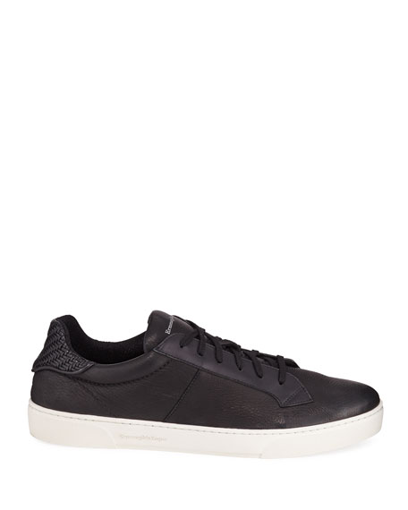 Ermenegildo Zegna Men's Vulcanizzato Deerskin Leather Low-Top Sneakers