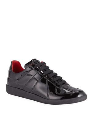 f7d14caae76492 Maison Margiela Men's Replica Lace-Up Patent Sneakers