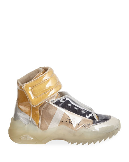 Maison Margiela Men's New Future Laminated High-Top Sneakers