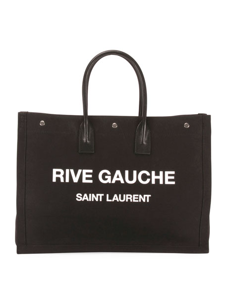 Saint Laurent Men's Rive Gauche Logo Tote Bag