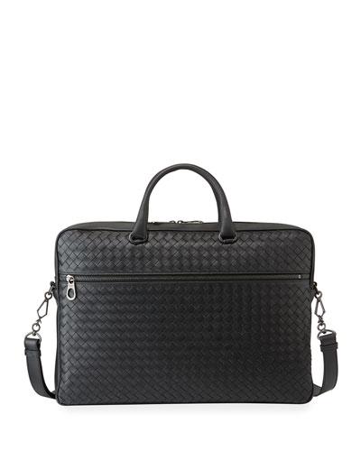 Men's Woven Leather Briefcase Bag