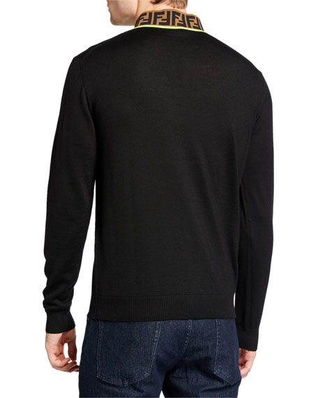 Fendi Men's FF Mock-Neck Fleece Sweater