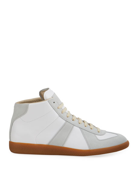 Maison Margiela Men's Replica Paneled Leather/Suede High-Top Sneakers
