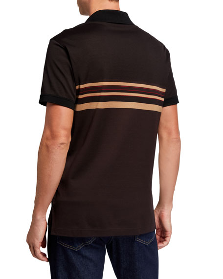 Salvatore Ferragamo Men's Striped Pique Cotton Polo Shirt