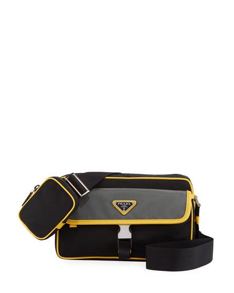 Prada Men's Tessuto Saffiano Crossbody Bag