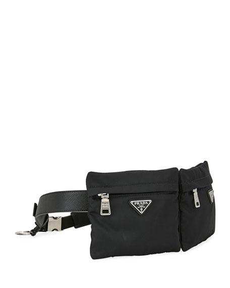 Prada Men's Two-Pocket Tessuto & Leather Belt Bag