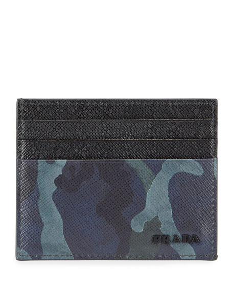 Prada Men's Camouflage Leather Card Case