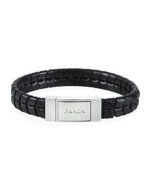 7597760bf Prada Men's Two-Row Saffiano Leather Logo Bracelet