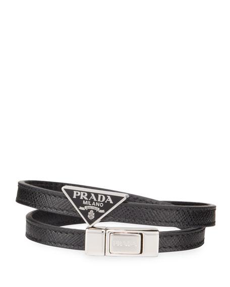 Prada Men's Saffiano Leather Wrap Bracelet