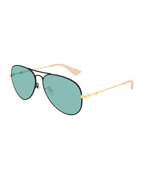 Gucci Men's Two-Tone Metal Aviator Sunglasses