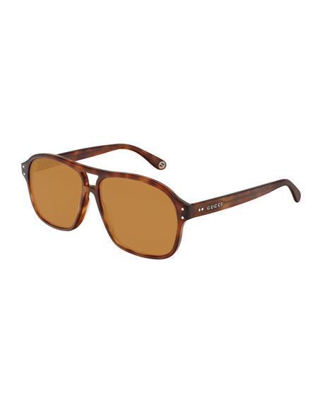 Gucci Men's Rectangle Tortoiseshell Sunglasses