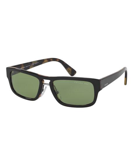 Prada Men's Rectange Acetate Sunglasses