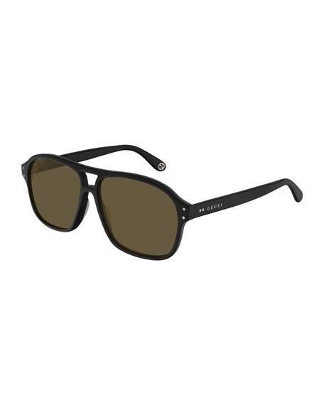 Gucci Men's Solid Acetate Rectangle Sunglasses