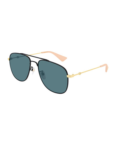 Men's Two-Tone Metal Aviator Sunglasses
