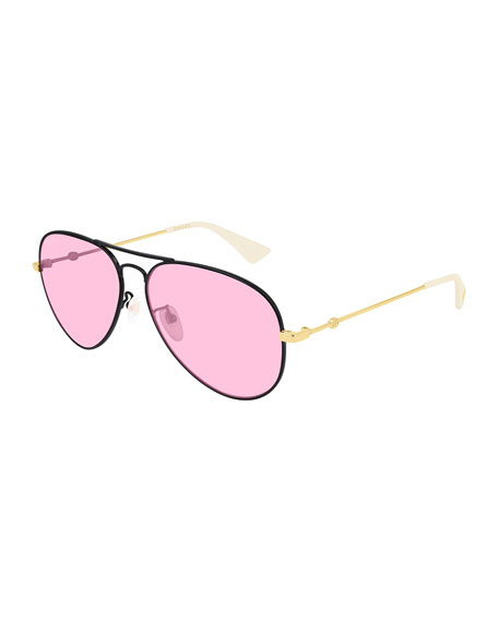 Gucci Men's Two-Tone Metal Aviator Sunglasses