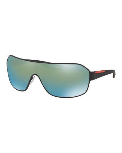 Men's Mirrored Metal Shield Sunglasses