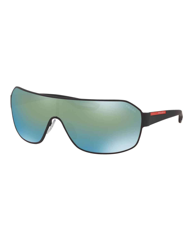 629d1075aa Prada Men s Mirrored Metal Shield Sunglasses
