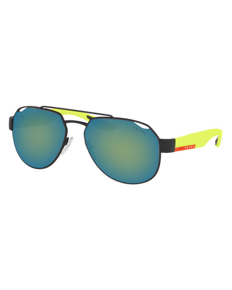 Prada Men's Active Metal Aviator Sunglasses