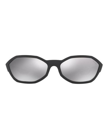 Prada Men's Mirrored Nylon Geometric Sunglasses
