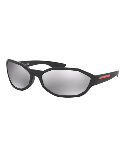 Men's Mirrored Nylon Geometric Sunglasses