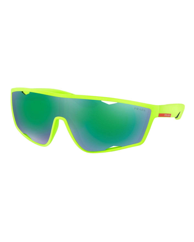 1e7f61885380 Prada Men's Active Shield Sunglasses, Green | Neiman Marcus