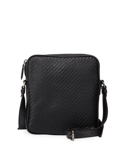 Men's Pelle Tessuta Small Reporter Crossbody Bag