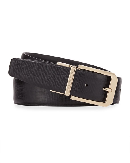 Ermenegildo Zegna Men's Reversible 35mm Square-Buckle Leather Belt