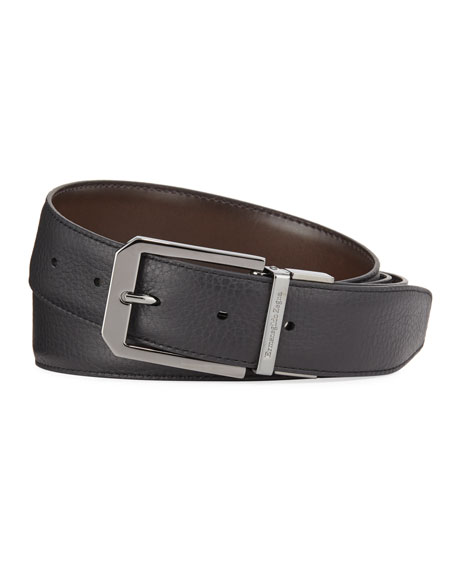 Image 2 of 2: Ermenegildo Zegna Men's Reversible Calf Leather Belt