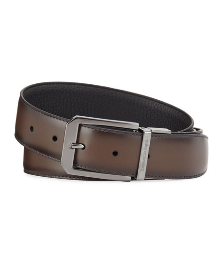Image 1 of 2: Ermenegildo Zegna Men's Reversible Calf Leather Belt
