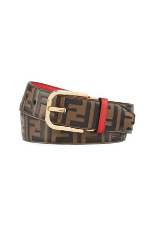 Fendi Men's FF Logo Leather Belt