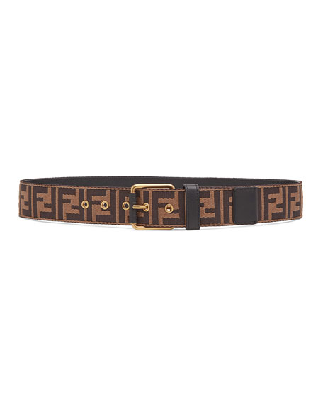 Fendi Men's FF Logo Knit Belt w/Leather Trim