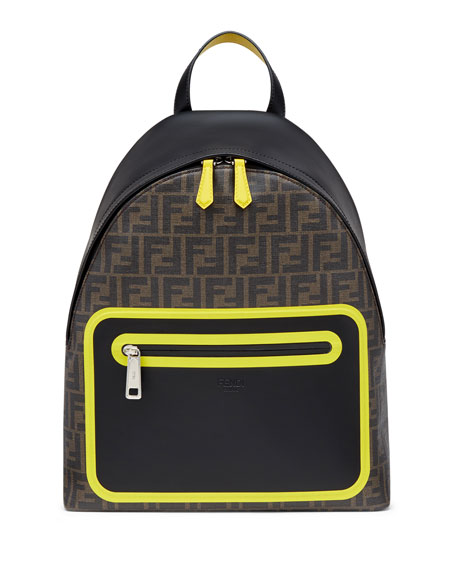 Fendi Men's FF Logo Neon Leather Backpack